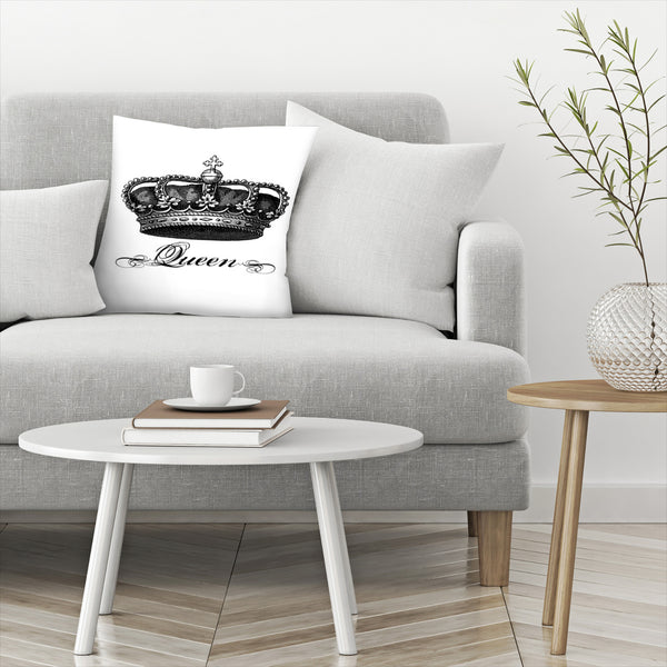 Crown Queen Black by Amy Brinkman Decorative Pillow
