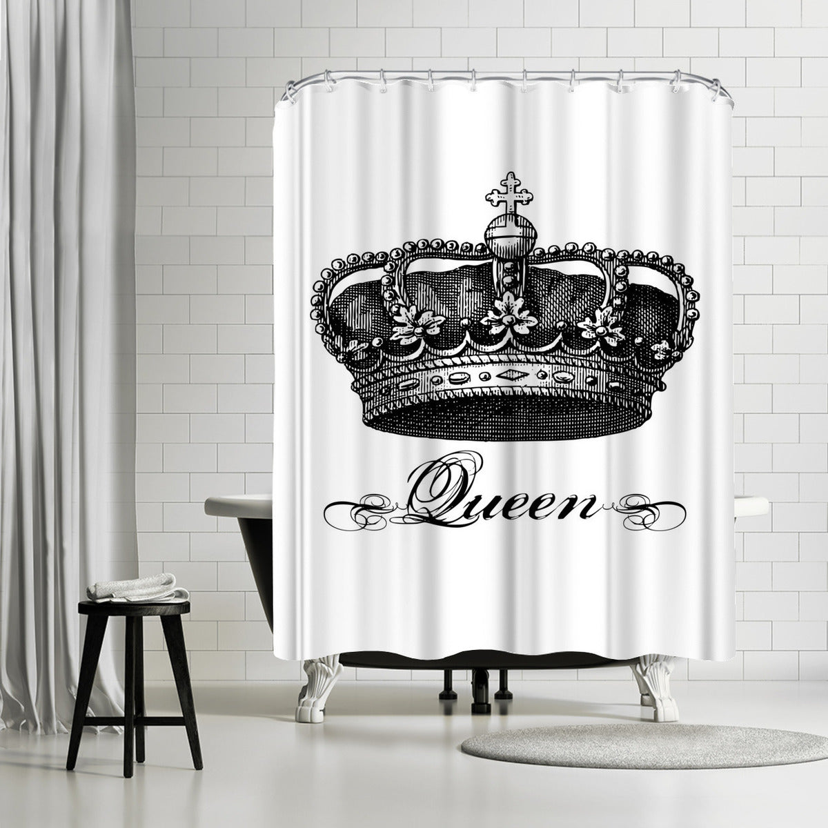 Crown Queen Black by Amy Brinkman Shower Curtain - Shower Curtain - Americanflat