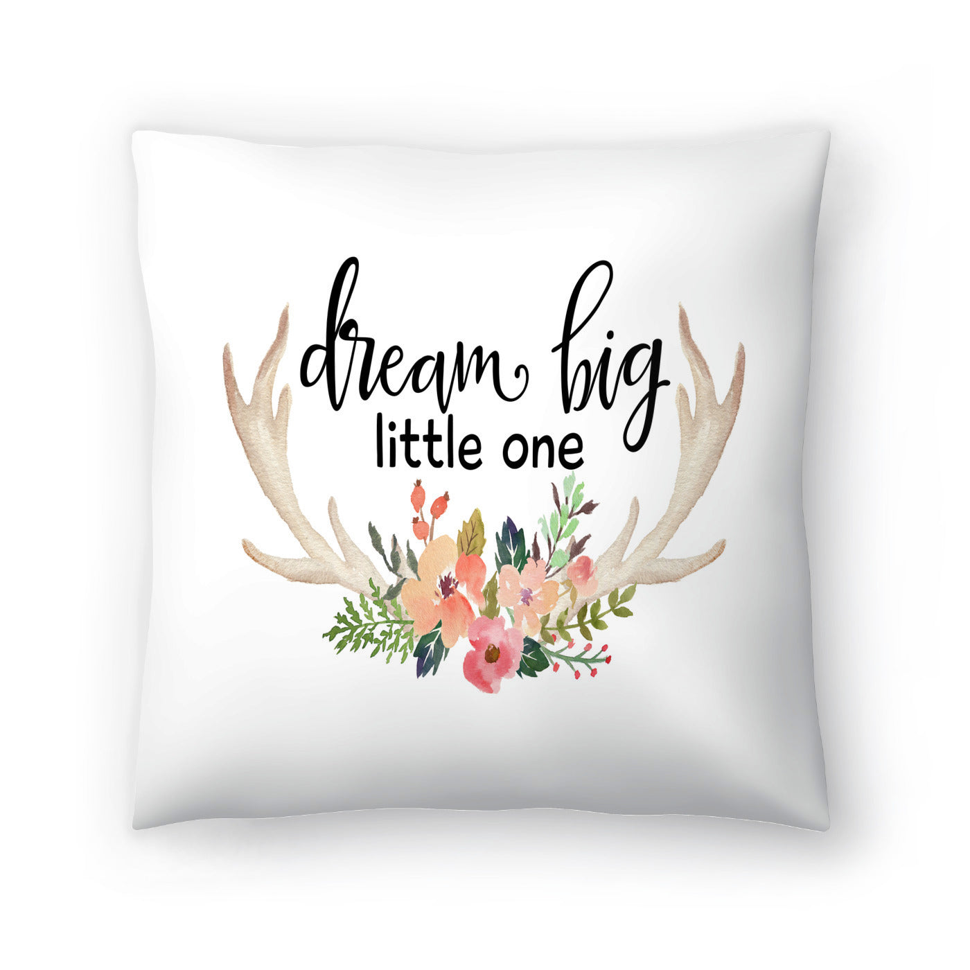 Dream Big Little One Antlers by Amy Brinkman Decorative Pillow - Decorative Pillow - Americanflat
