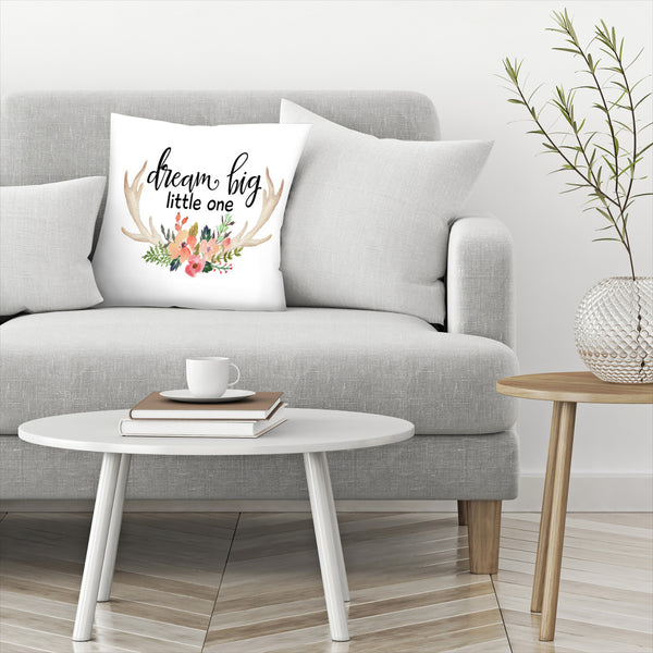 Dream Big Little One Antlers by Amy Brinkman Decorative Pillow