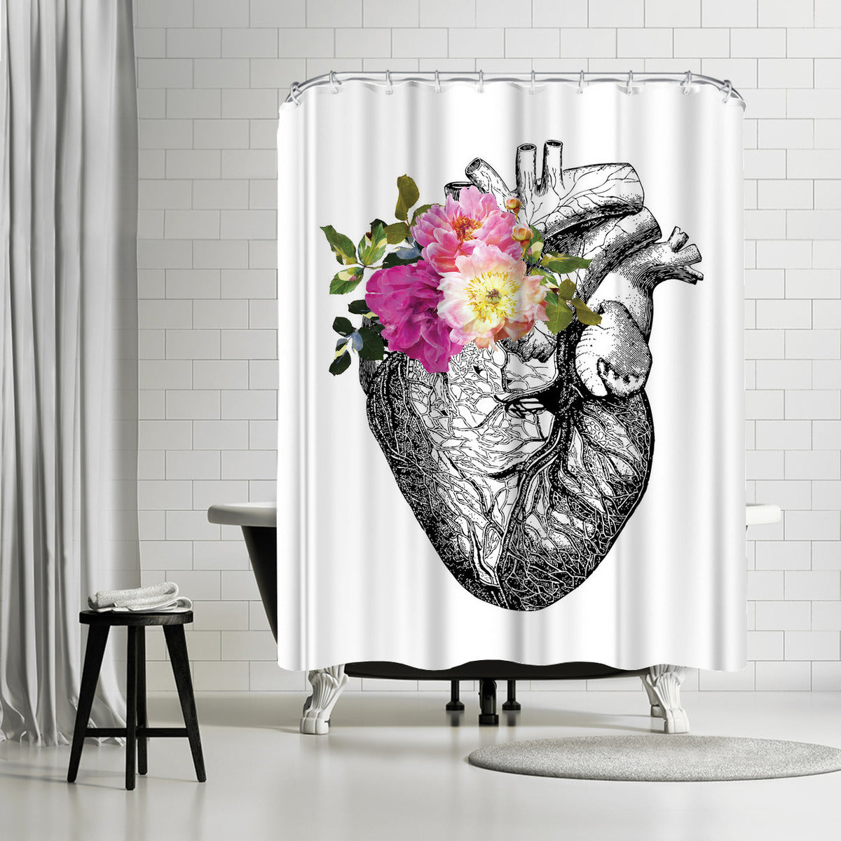 Heart Anatomical Floral by Amy Brinkman Shower Curtain