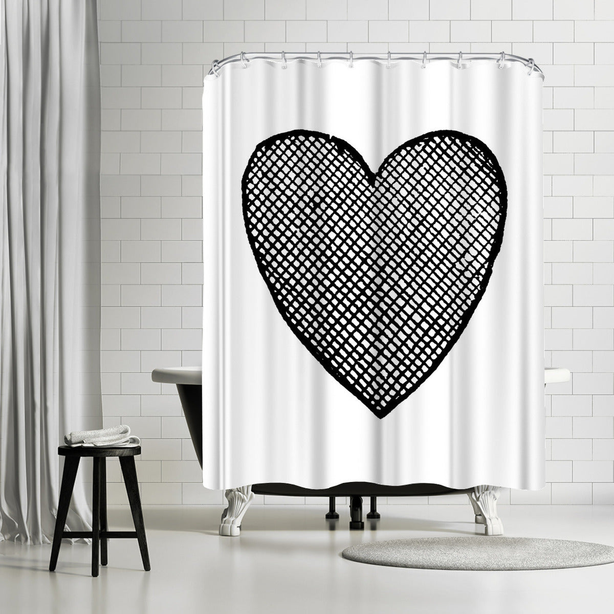 Heart Crosshatched Black by Amy Brinkman Shower Curtain -  - Americanflat