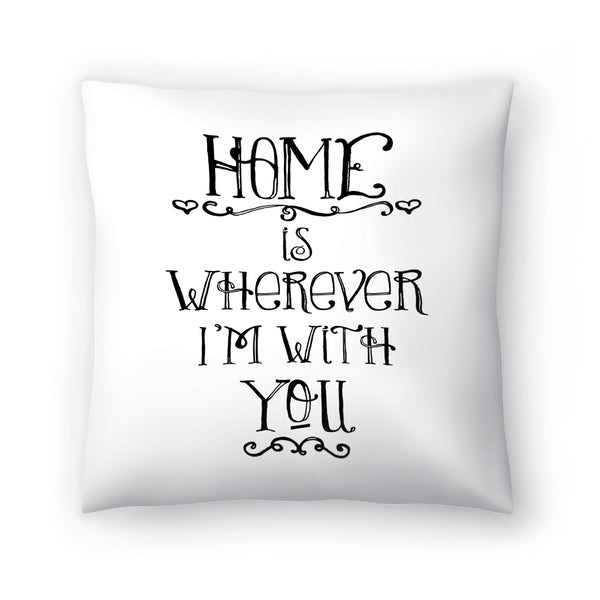 Home Is Wherever Black by Amy Brinkman Decorative Pillow