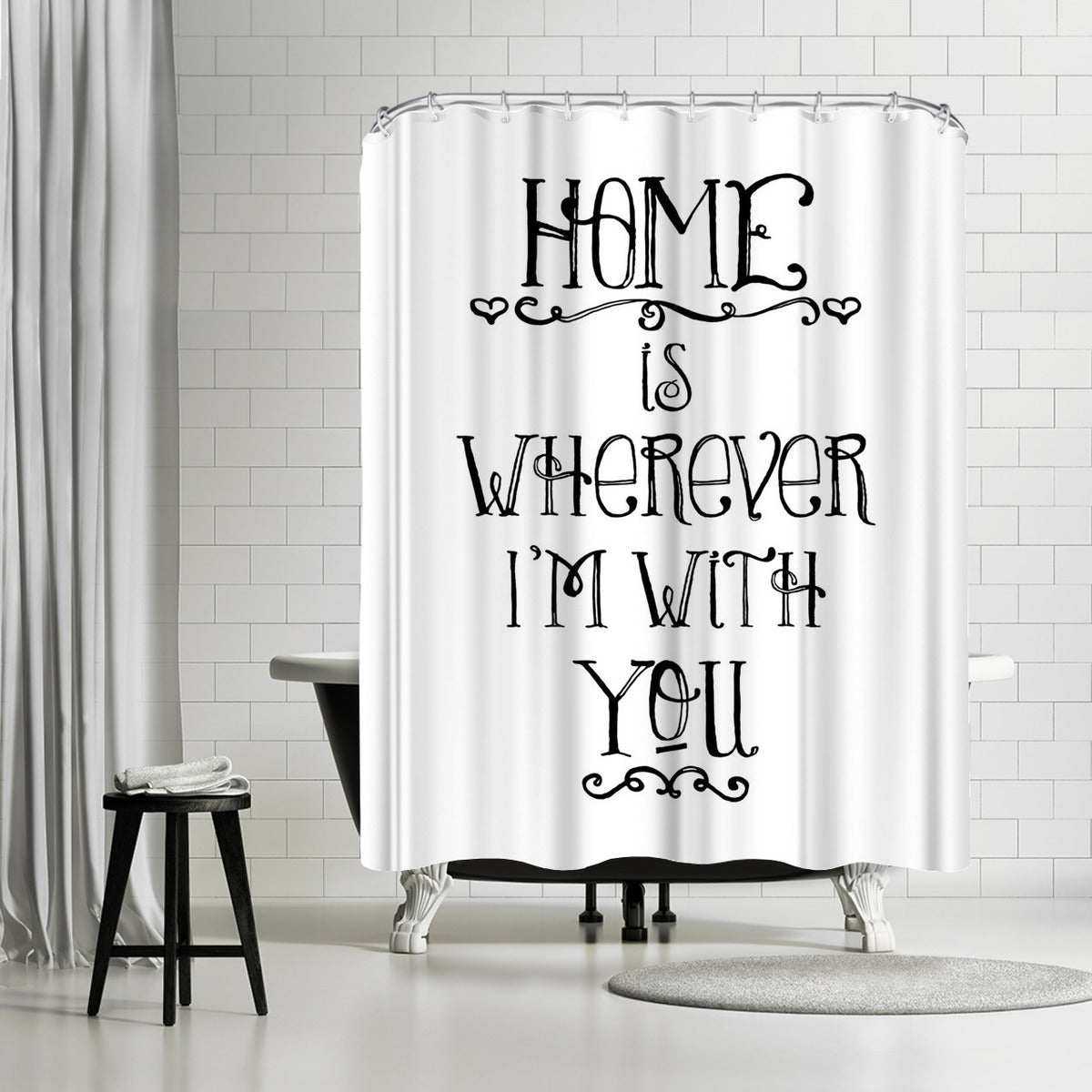 Home Is Wherever Black by Amy Brinkman Shower Curtain - Shower Curtain - Americanflat