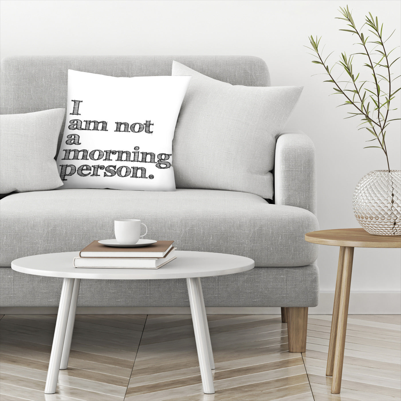 I Am Not Morning Person Black by Amy Brinkman Decorative Pillow - Decorative Pillow - Americanflat