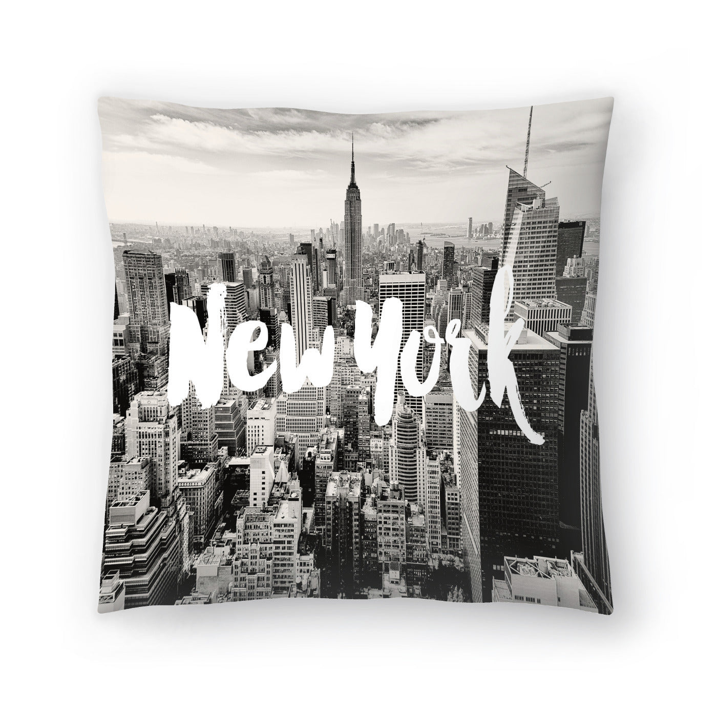 New York Skyline White by Amy Brinkman Decorative Pillow - Decorative Pillow - Americanflat