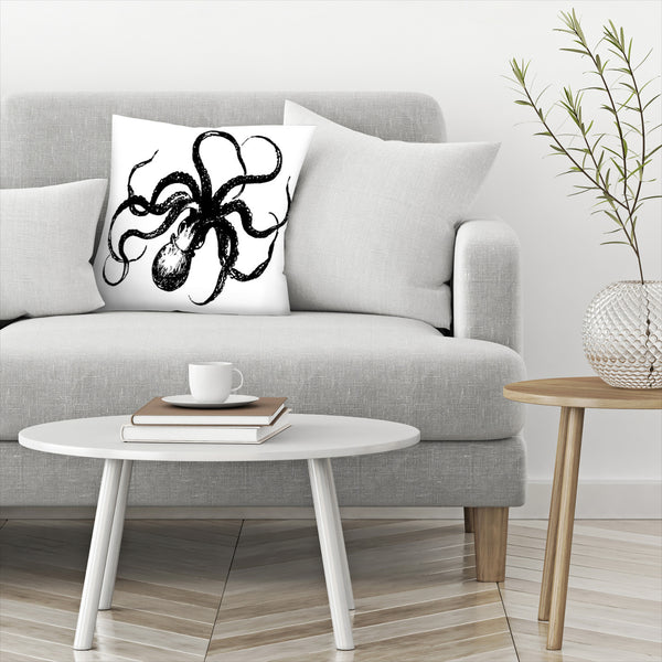 Octopus Black by Amy Brinkman Decorative Pillow