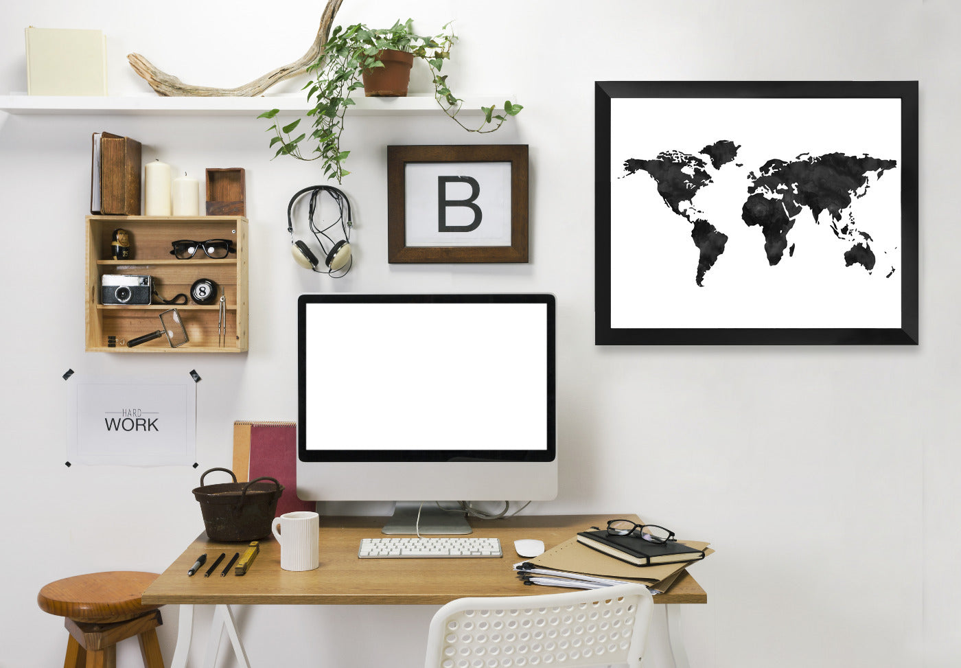 World Map  by Amy Brinkman Framed Print - Wall Art - Americanflat