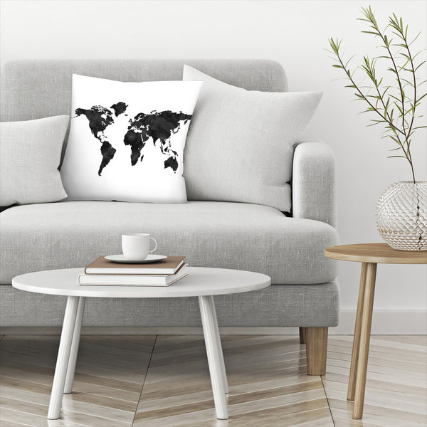 World Map Black by Amy Brinkman Decorative Pillow