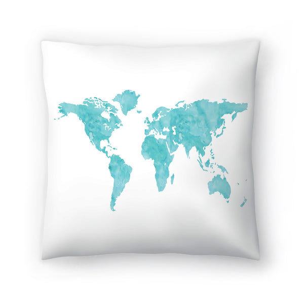 World Map Wc Blue by Amy Brinkman Decorative Pillow
