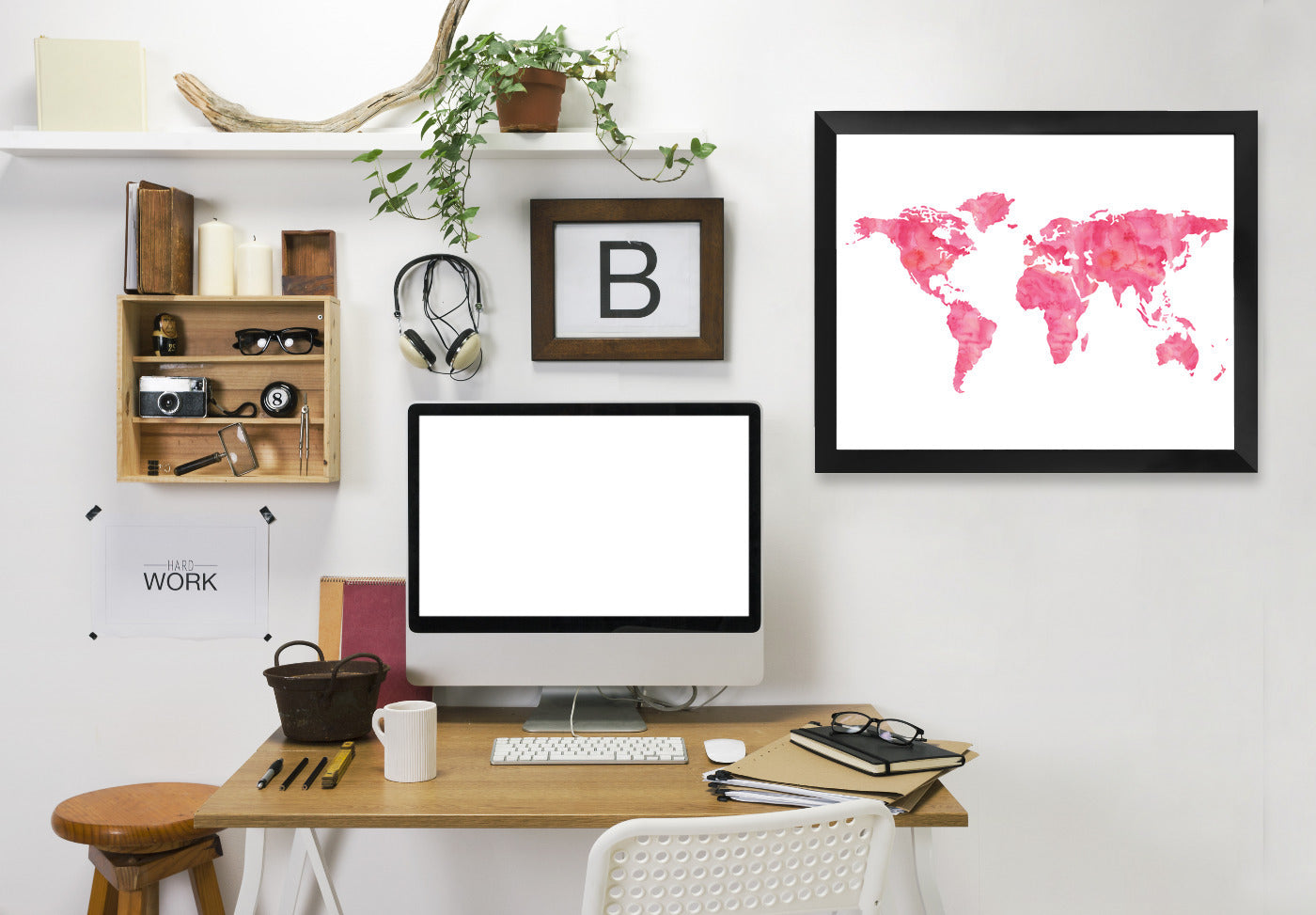 World Map Watercolor Pink by Amy Brinkman Framed Print - Wall Art - Americanflat