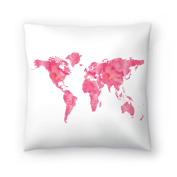 World Map Wc Pink by Amy Brinkman Decorative Pillow