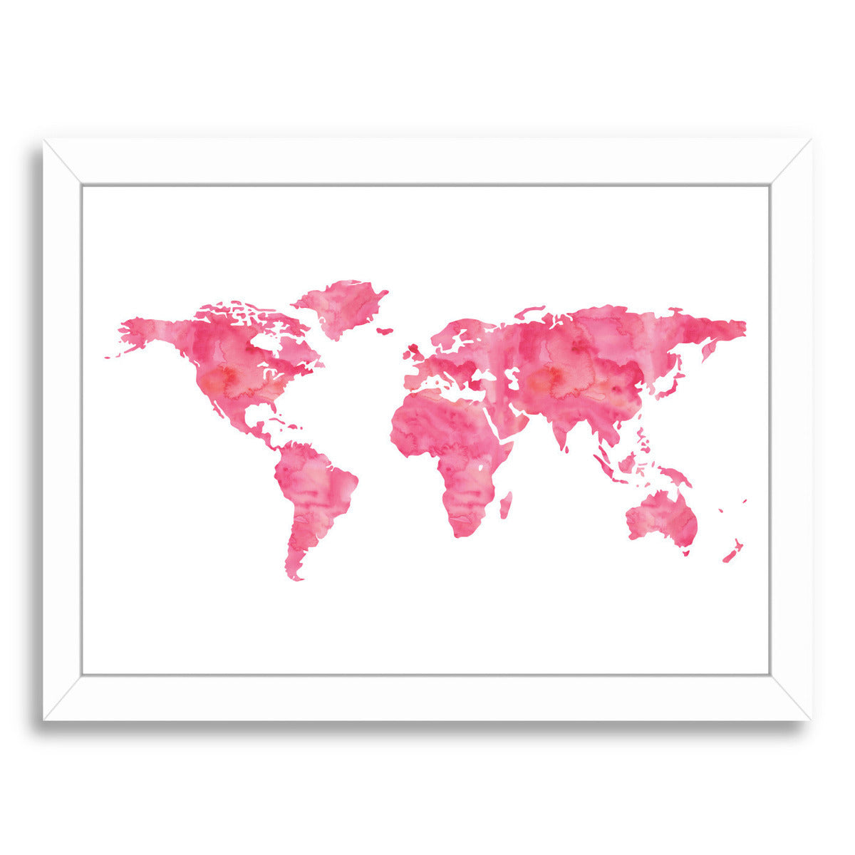 World Map Watercolor Pink by Amy Brinkman Framed Print - Americanflat