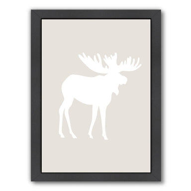 Beige White Moose by Jetty Printables Framed Print - Wall Art - Americanflat