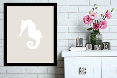 Beige White Seahorse by Jetty Printables Framed Print - Wall Art - Americanflat