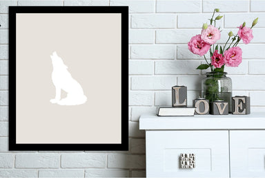 Beige White Wolf by Jetty Printables Framed Print - Wall Art - Americanflat