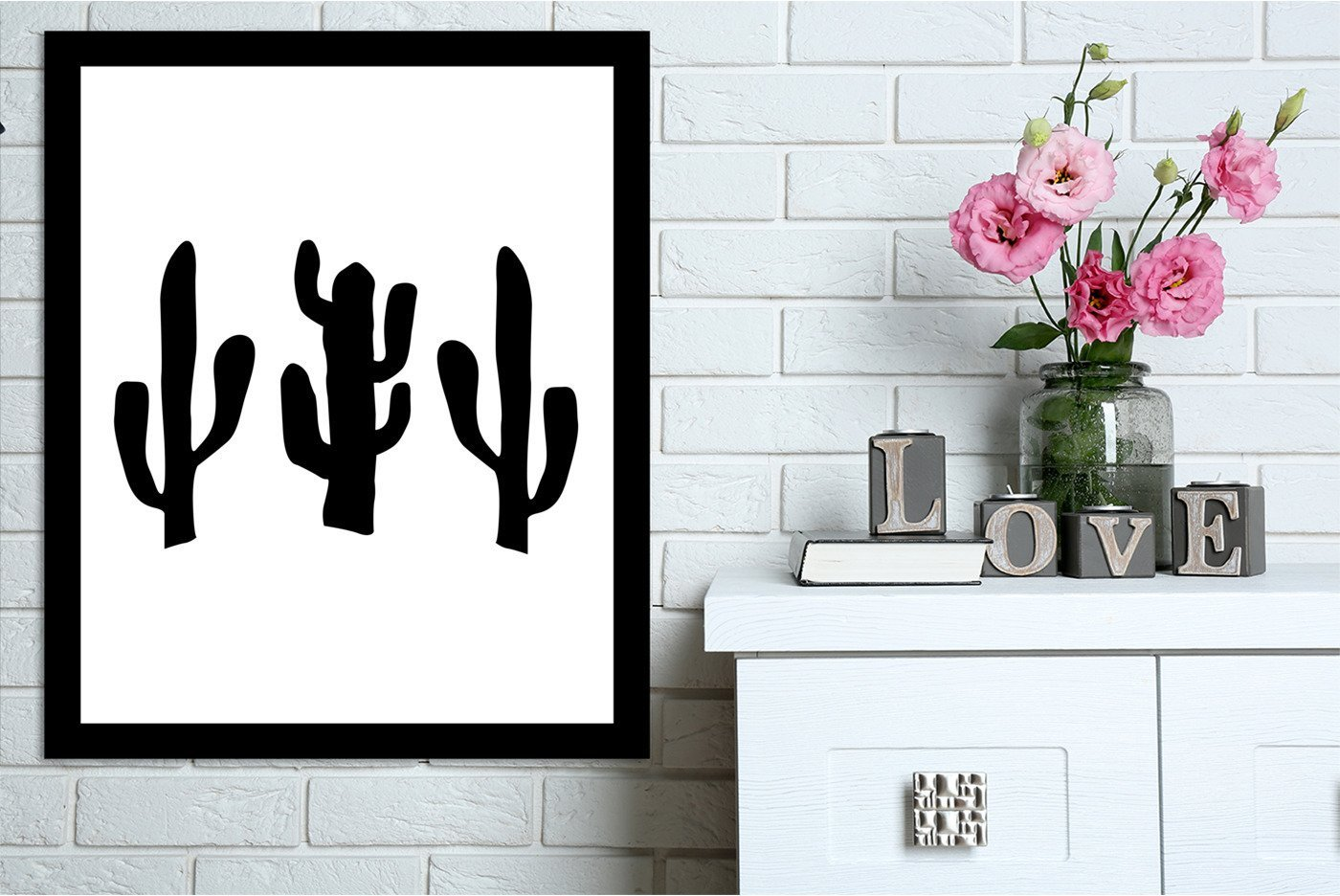 Black Cactus by Jetty Printables Framed Print - Americanflat