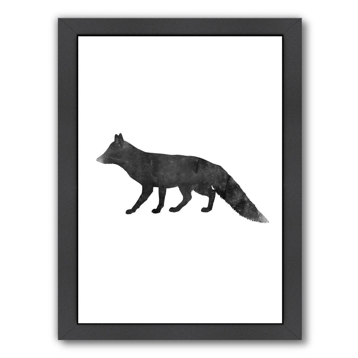 Black White Faded Fox by Jetty Printables Framed Print - Americanflat