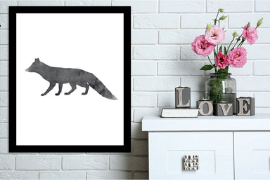 Black White Fox by Jetty Printables Framed Print - Wall Art - Americanflat
