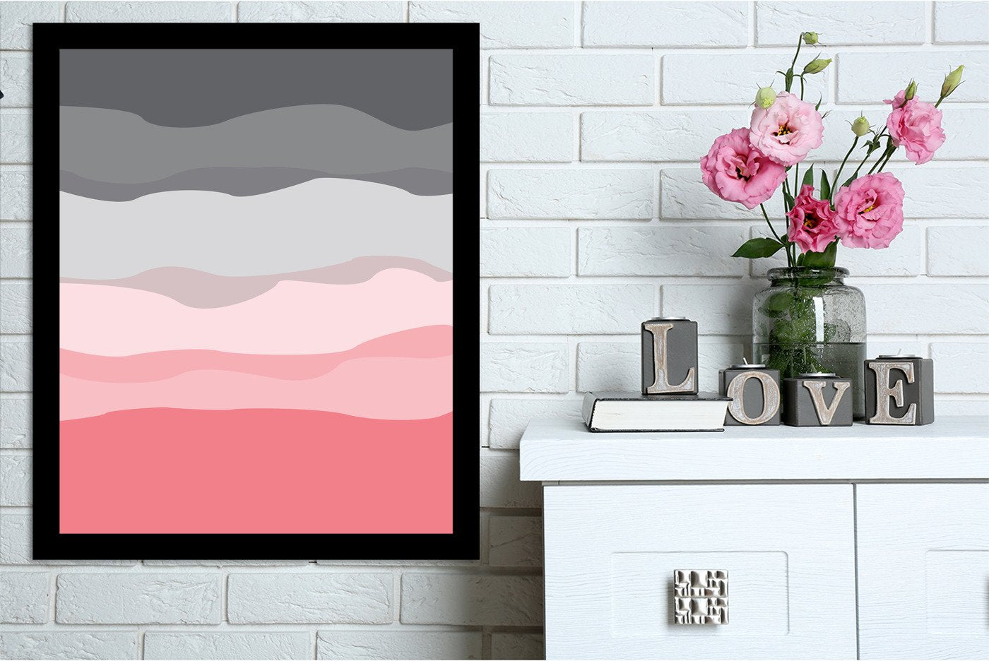 Coral Gray Abstract by Jetty Printables Framed Print - Wall Art - Americanflat