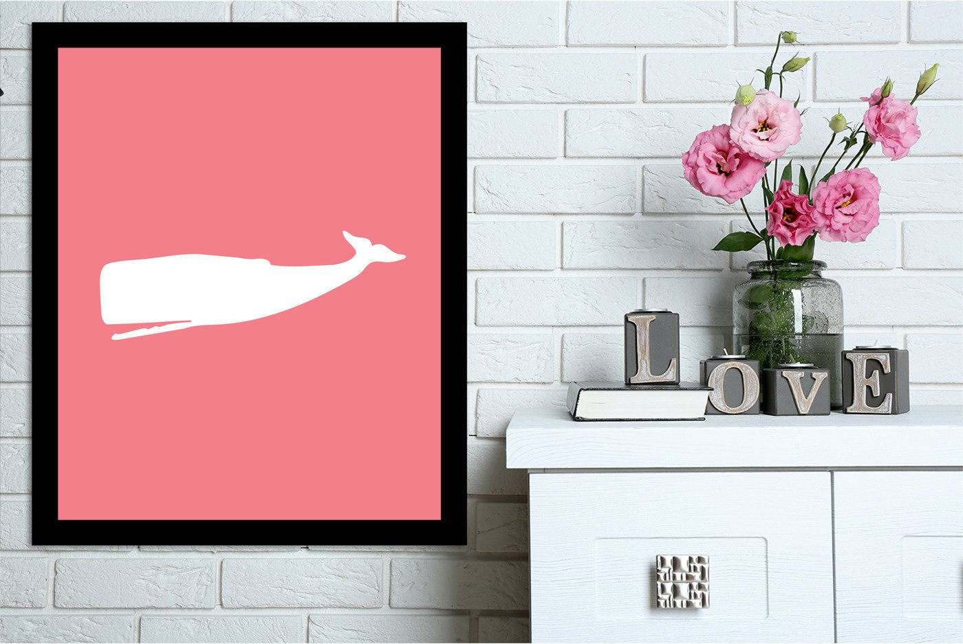 Coral Whale by Jetty Printables Framed Print - Wall Art - Americanflat