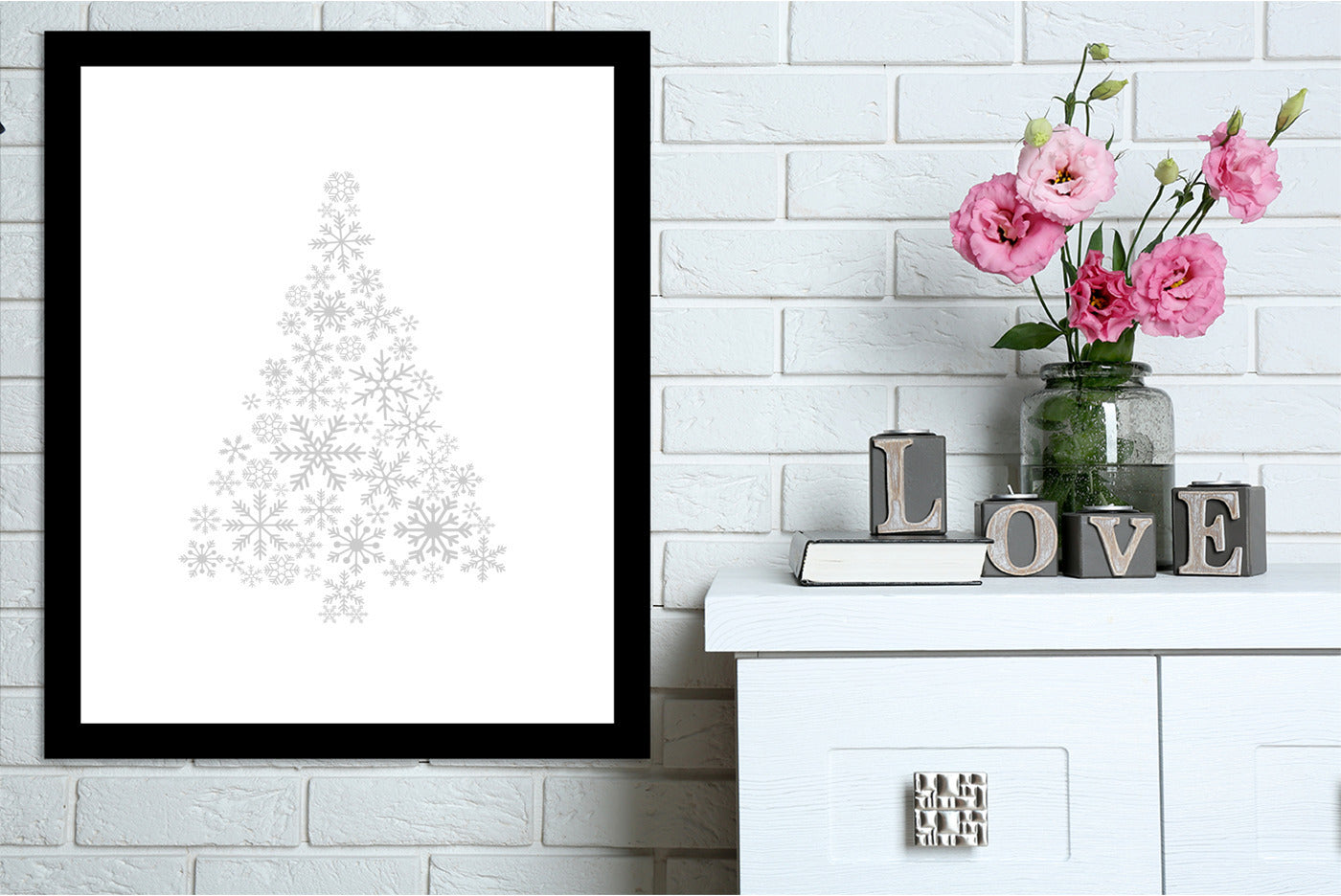 Gray Snowflake Tree by Jetty Printables Framed Print - Americanflat