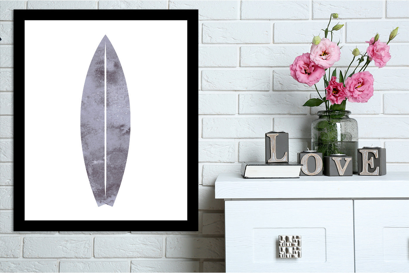 Watercolor Gray Surfboard by Jetty Printables Framed Print - Wall Art - Americanflat