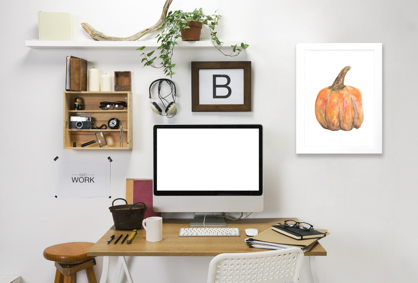 Watercolor Pumpkin by Jetty Printables Framed Print - Wall Art - Americanflat