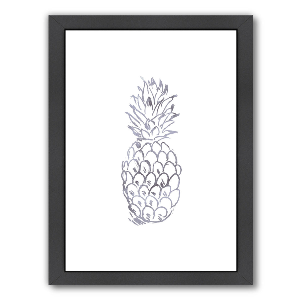 Watercolor Gray Pineapple  by Jetty Printables Framed Print - Wall Art - Americanflat