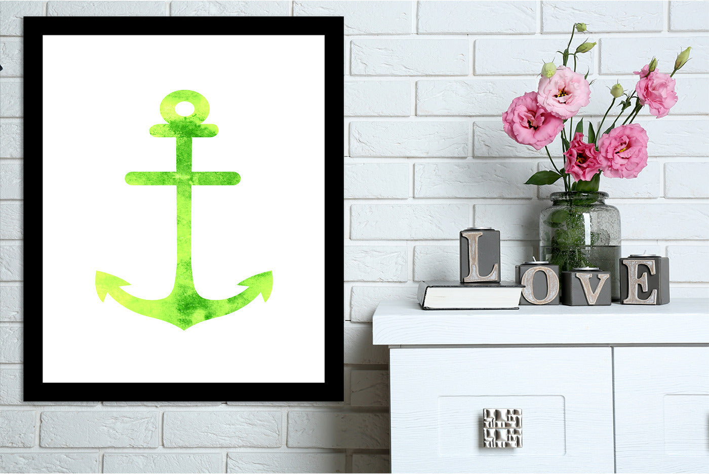 Watercolor Yellow Anchor  by Jetty Printables Framed Print - Wall Art - Americanflat