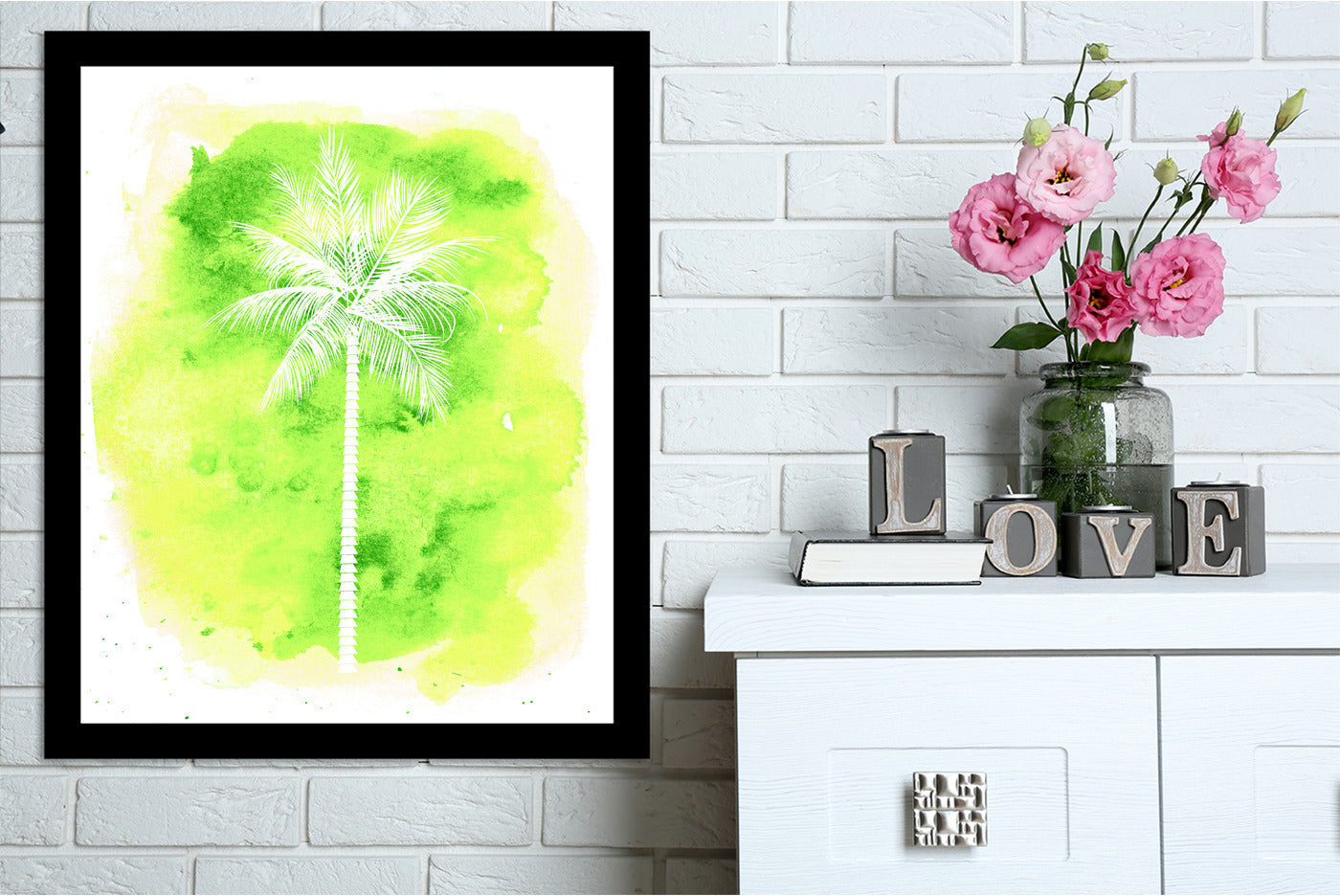 Yellow watercolor B Palm  by Jetty Printables Framed Print - Wall Art - Americanflat