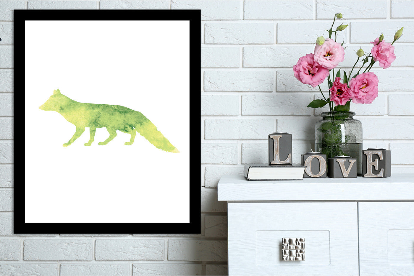 Yellow Watercolor Fox  by Jetty Printables Framed Print - Wall Art - Americanflat