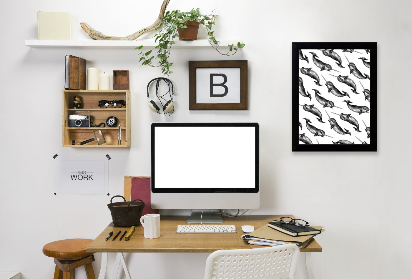 Narwhal Pattern by Jetty Printables Framed Print - Wall Art - Americanflat