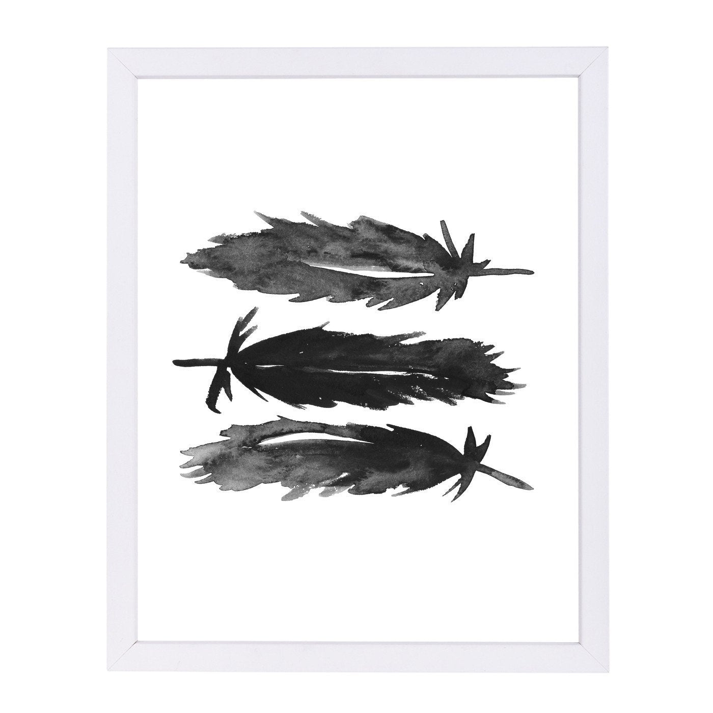 Black Watercolor Feathers by Jetty Printables Framed Print - Wall Art - Americanflat