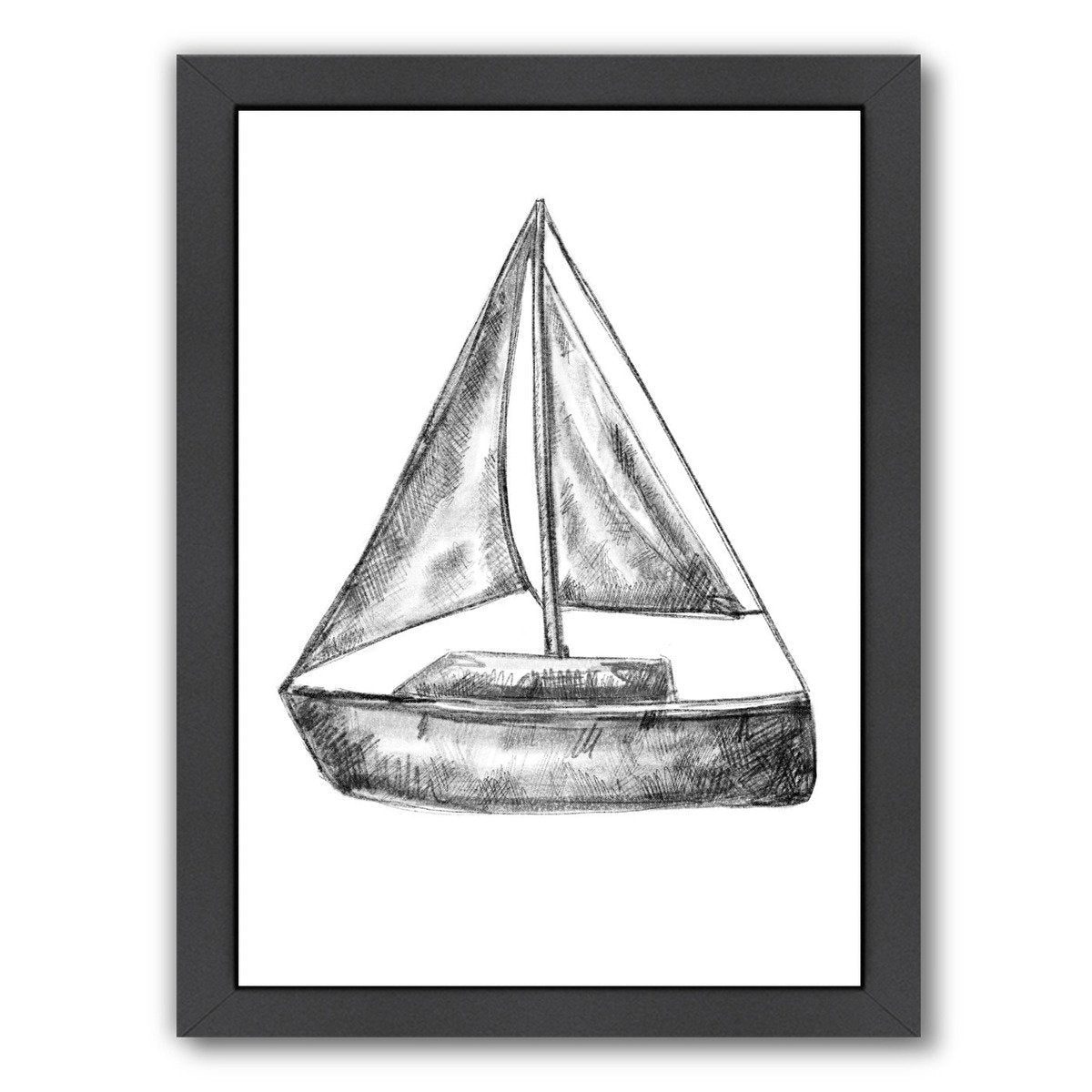 Black and White Sailboat 18X24 01 by Jetty Printables Framed Print - Wall Art - Americanflat