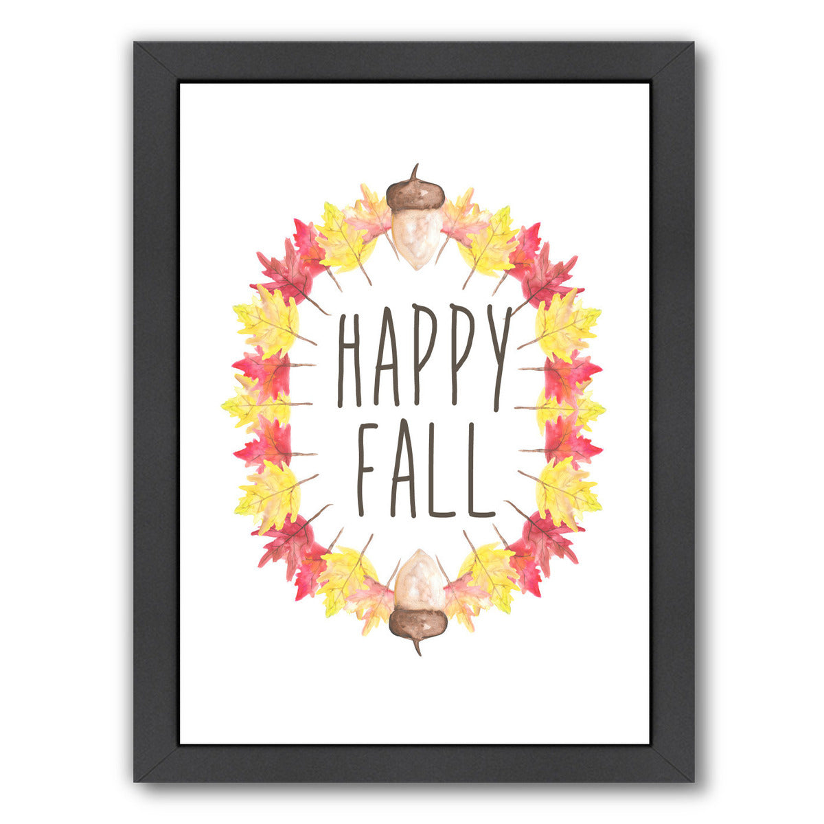 Happy Fall Typography by Jetty Printables Framed Print - Wall Art - Americanflat