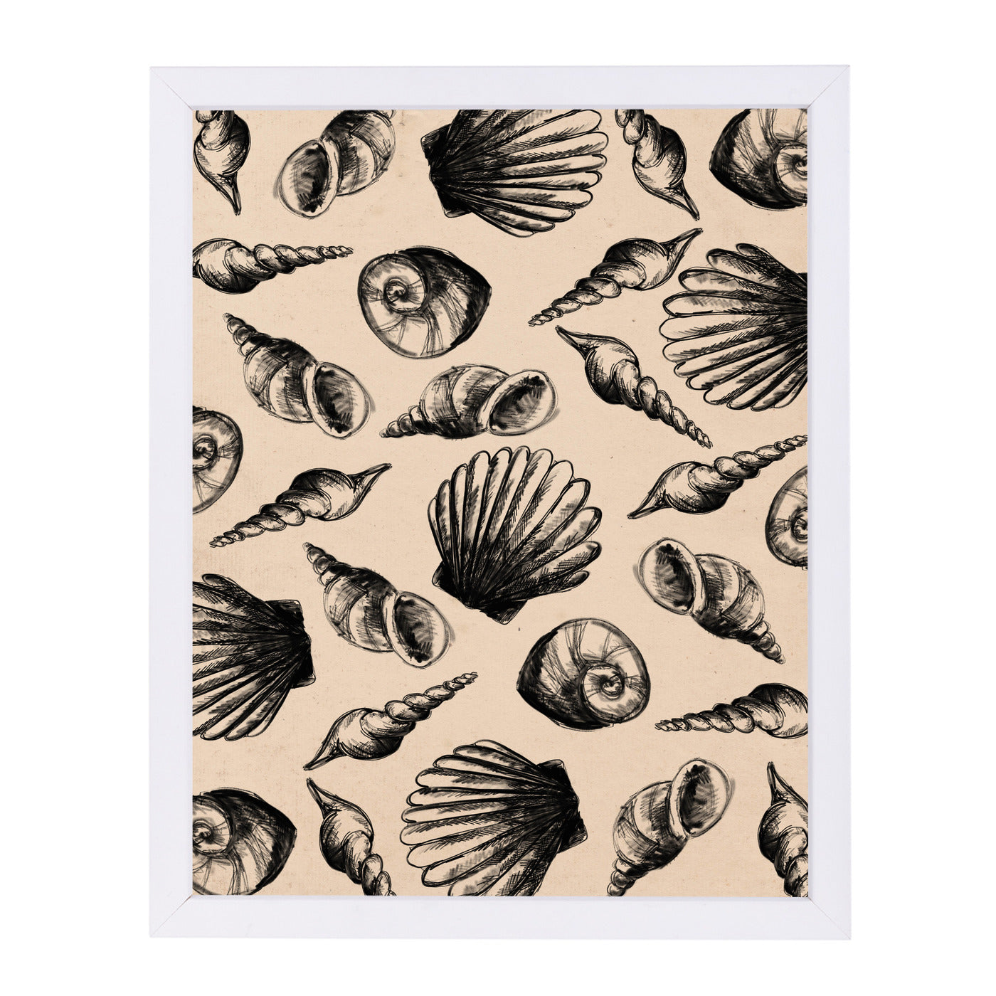 Illustrated Sea Shell Pattern by Jetty Printables Framed Print - Wall Art - Americanflat