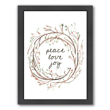 Peace Love Joy Wreath by Jetty Printables Framed Print - Wall Art - Americanflat