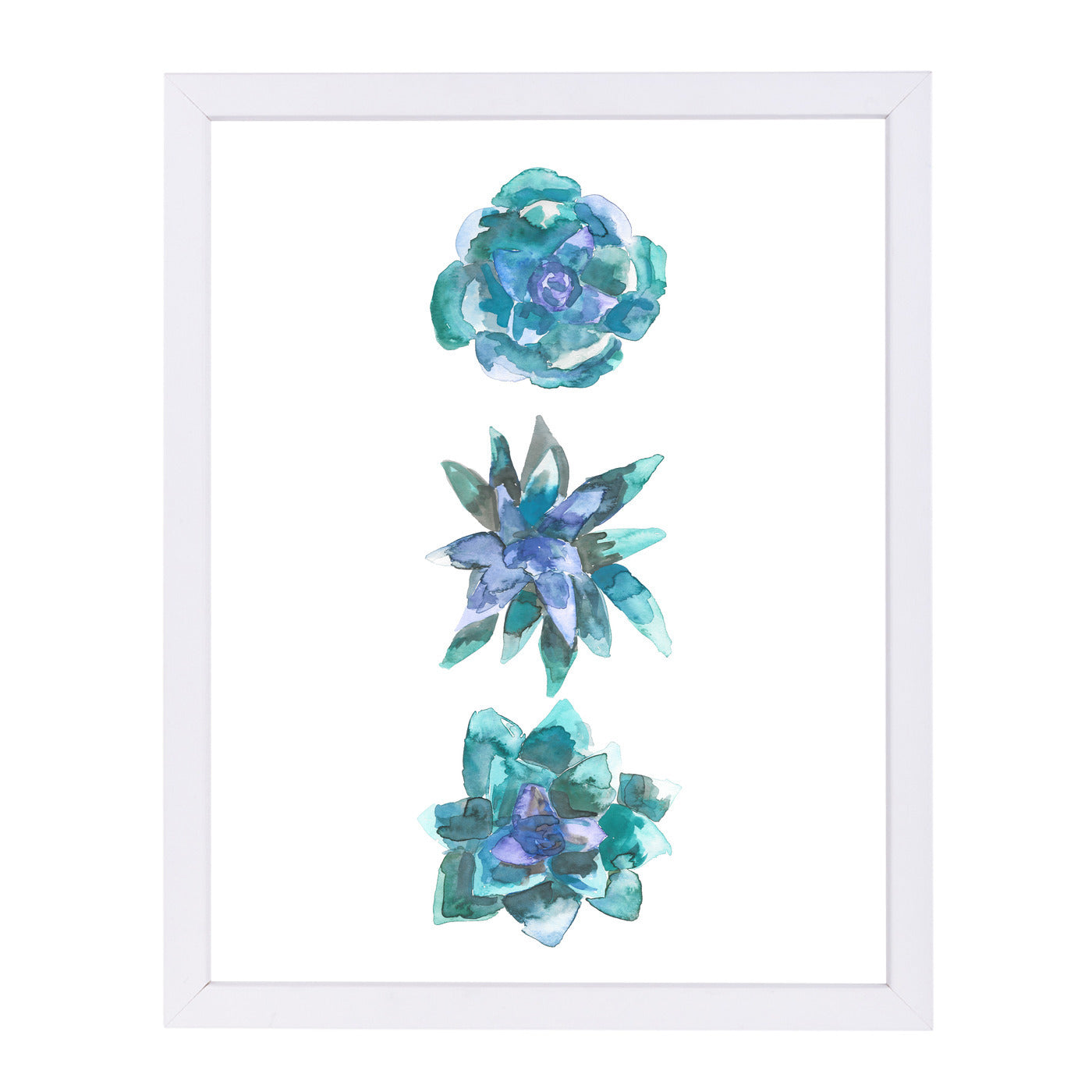 Watercolor Blue And Green Succulent Trio by Jetty Printables Framed Print - Wall Art - Americanflat