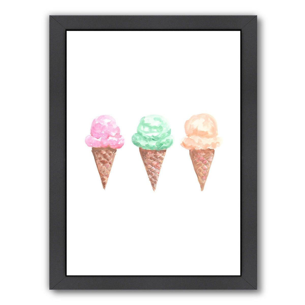 Watercolor Ice Cream Cone Trio by Jetty Printables Framed Print - Americanflat