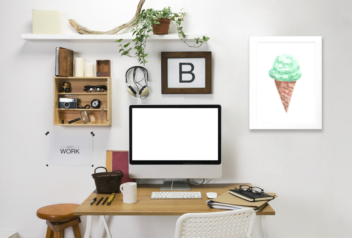 Watercolor Mint Ice Cream Cone by Jetty Printables Framed Print - Wall Art - Americanflat