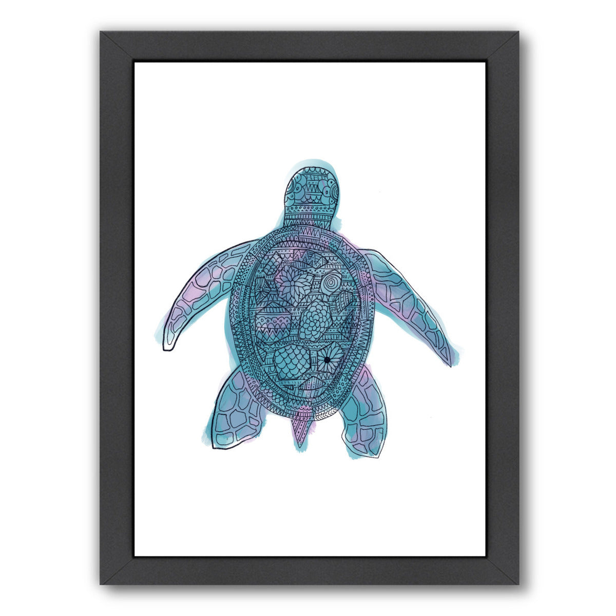 Watercolor Sea Turtle by Jetty Printables Framed Print - Wall Art - Americanflat