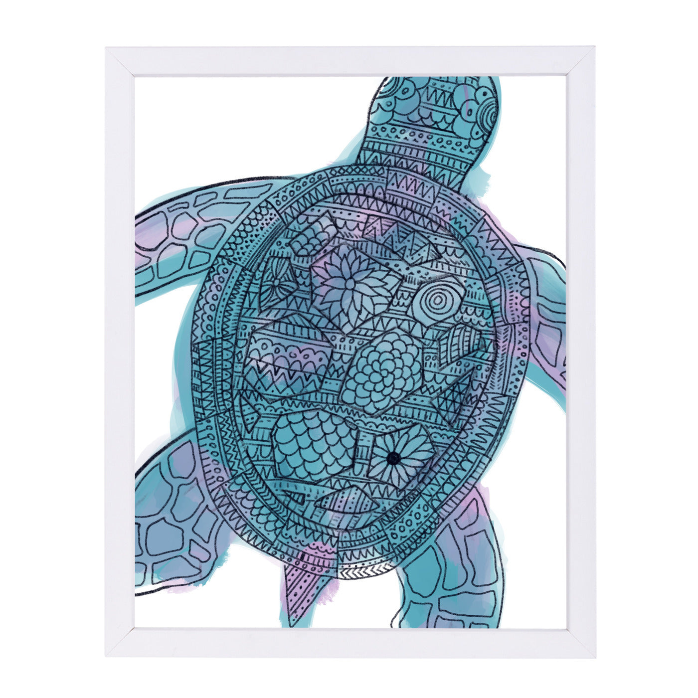 Watercolor Tribal Pattern Sea Turtle by Jetty Printables Framed Print - Wall Art - Americanflat