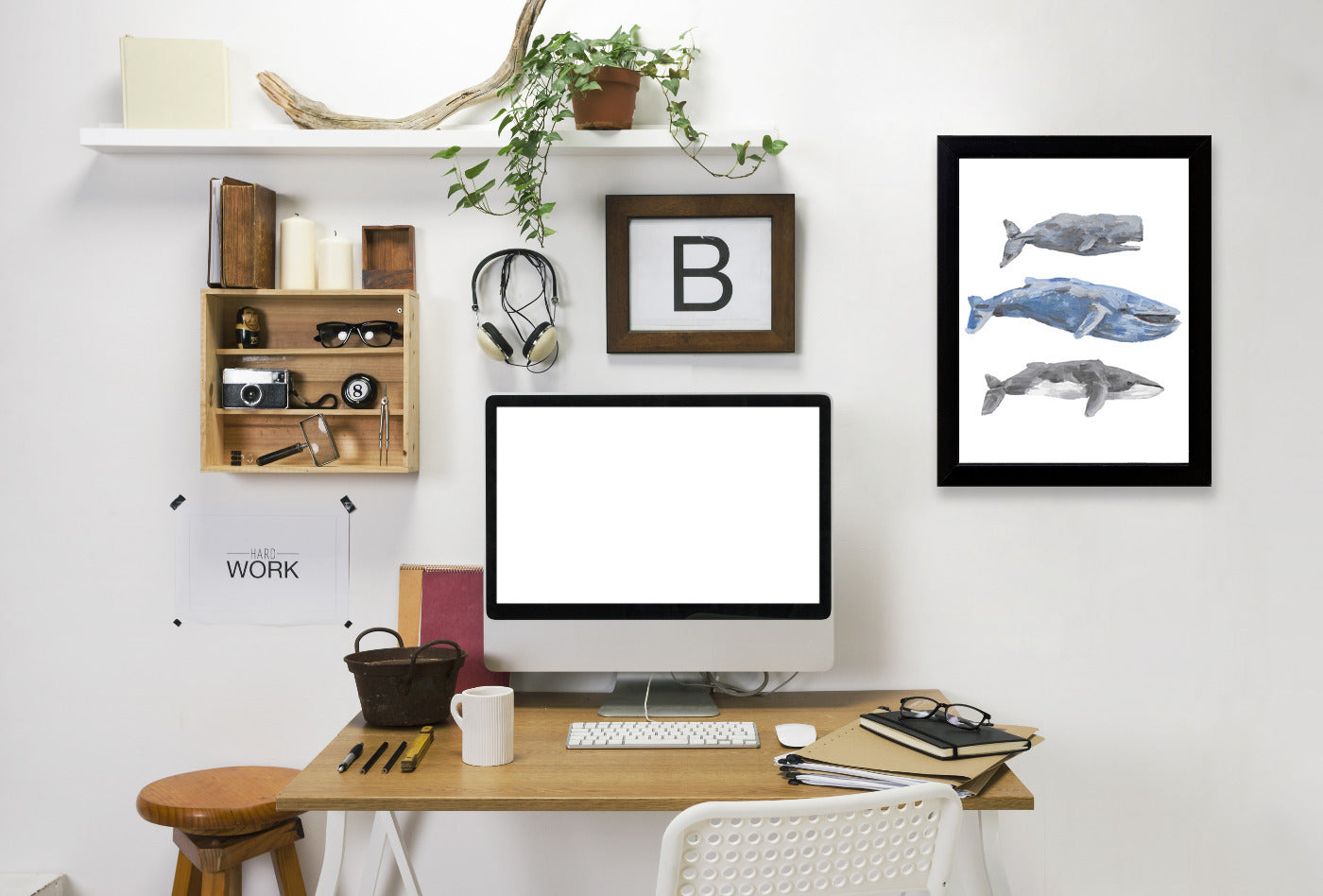 Whale Painting Trio 2 by Jetty Printables Framed Print - Wall Art - Americanflat