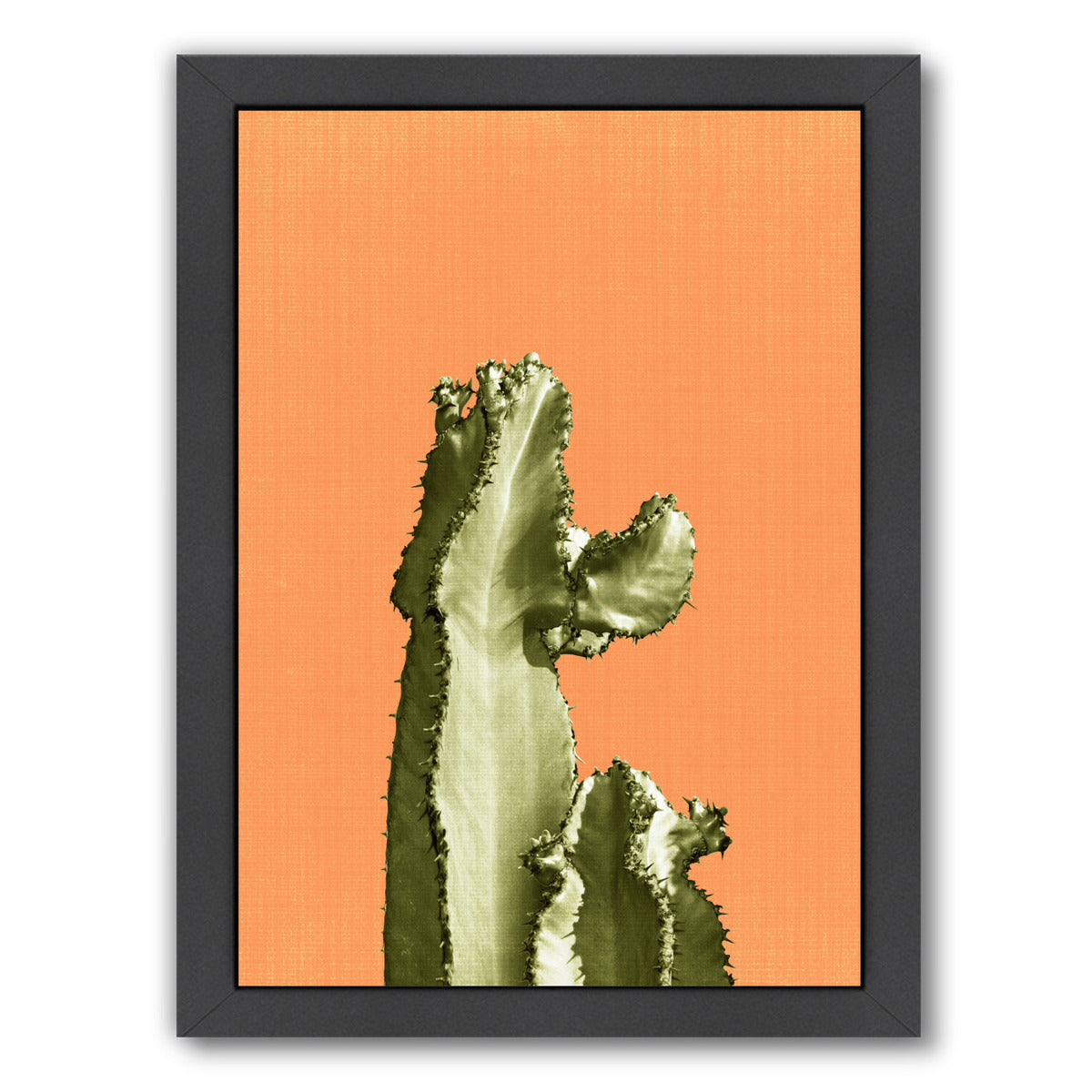 Cactus On Orange by LILA + LOLA Black Framed Print - Wall Art - Americanflat