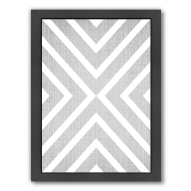 Geometric White Grey by LILA + LOLA Black Framed Print - Wall Art - Americanflat