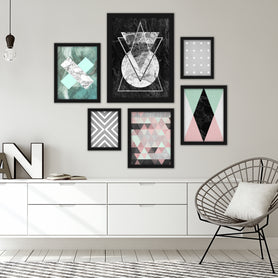 Modern Geometric Abstract Framed Art Set