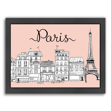 Paris on Pink by Peach & Gold Framed Print - Americanflat