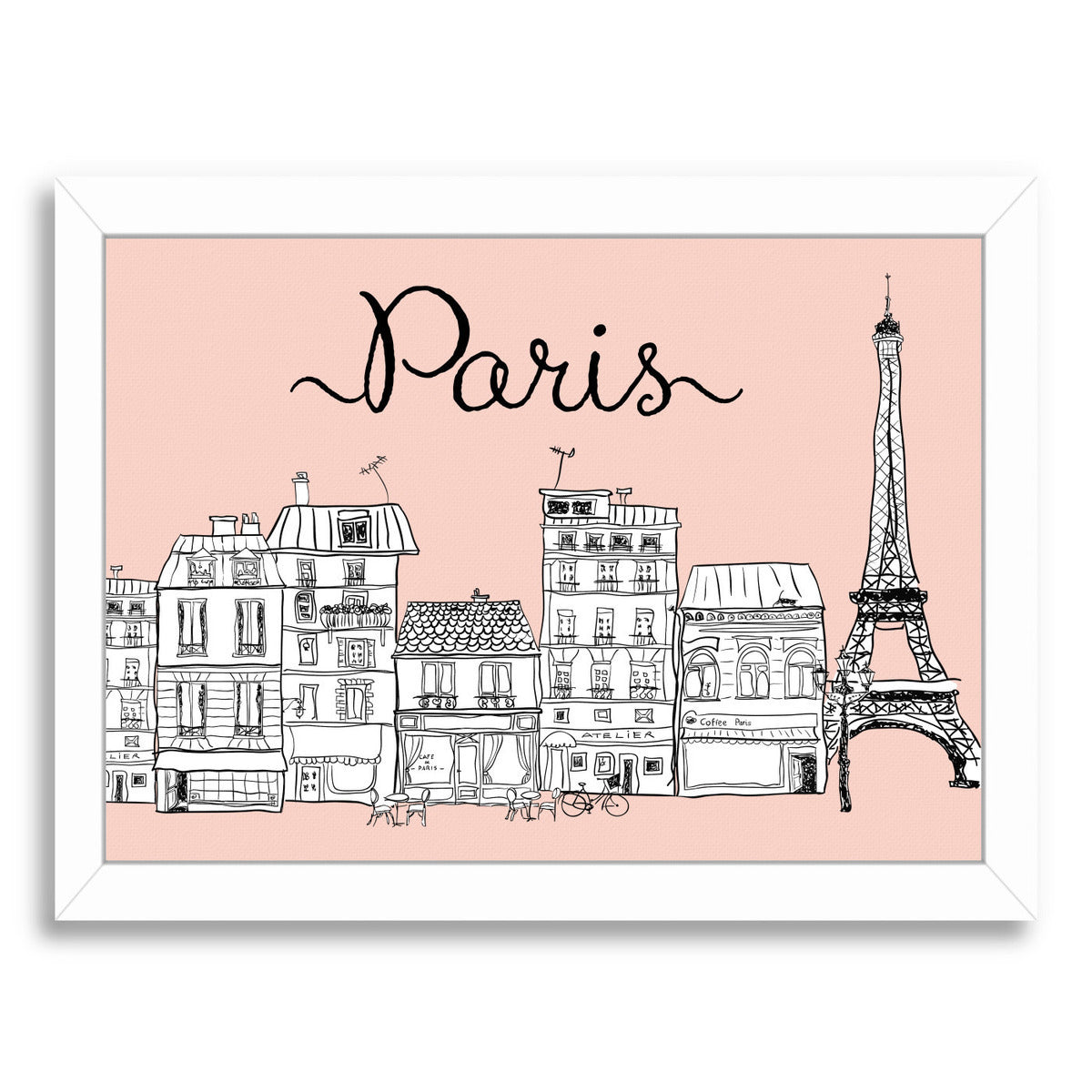 Paris on Pink by Peach & Gold Framed Print - Wall Art - Americanflat