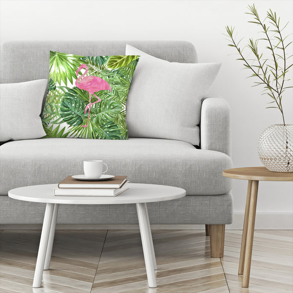 Tropical Flamingo by Peach & Gold Decorative Pillow